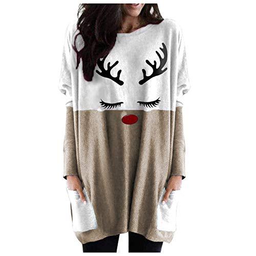 FEISI22 Blouse for Fashion Womens Christmas Elk Print Shirt Pockets Long Sleeves Casual Blouse Tops Khaki