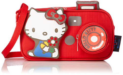 LeSportsac Hello Kitty Camera Exclusive Mini Red Camera Short Strap & Crossbody Bag, Style 3423/Color G632, 3 Dimensional Hello Kitty Raised Puffy Charm & Zip Coin Camera Lens
