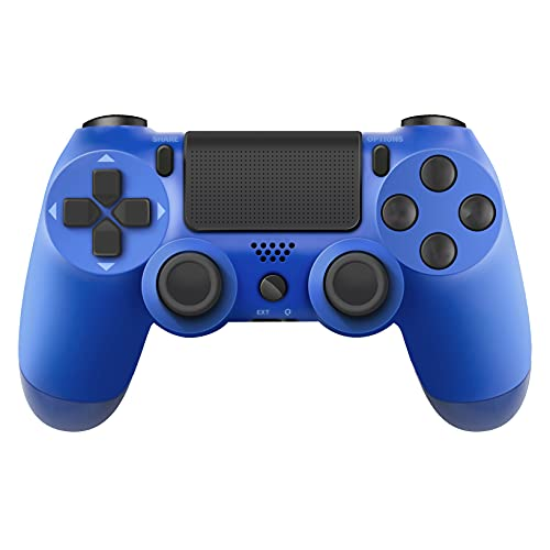 PS-4 Remote Controller, Touch Panel Joypad Dual Vibration Game Remote Control JoystickCompatible with PS-4/PS-4 Pro/PS-4 Slim, with Audio Function, LED Indicator and USB Cable (Blue)