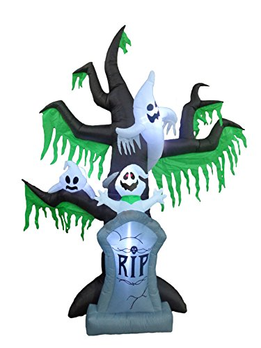 9 Foot Tall Halloween Inflatable Grave Scene Skeletons Ghosts on Dead Tree with Tombstone LED Lights Outdoor Indoor Holiday Decorations Blow up Yard Giant Lawn Inflatables Home Family Outside Decor