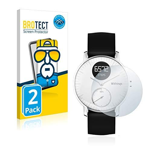 BROTECT Full-Cover Schutzfolie kompatibel mit Nokia Activité Steel HR (36 mm) (2 Stück) - Full-Screen Bildschirmschutz-Folie, 3D Curved, Kristall-Klar