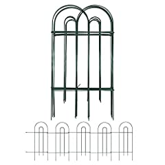 """SIZE & RUSTPROOF MATERIAL: Decorative metal garden fence with single panel size 32"""" high x 10"""" wide plus 7"""" connecting rod, 14 Panels in total. This metal fence panels for front yard is made of green Iron with vinyl pvc powder coated surface will ena..."""