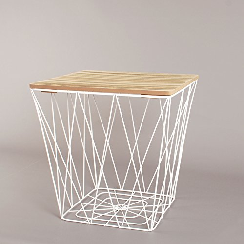 White Geometric Iron Metal Wire & Square Wooden Top Storage Side Table Basket
