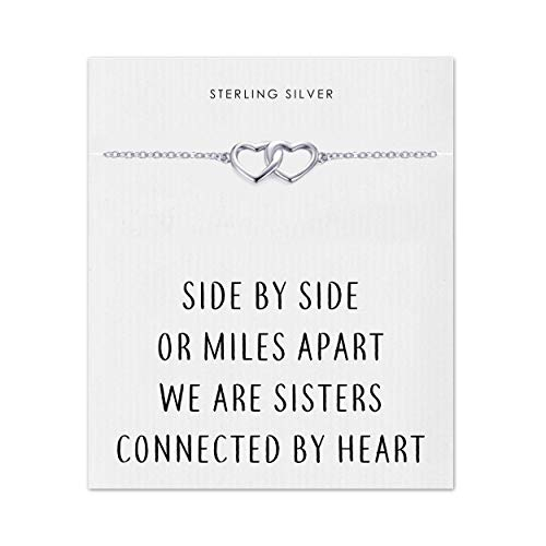 Philip Jones Sterling Silver Sister Heart Link Bracelet with Quote Card
