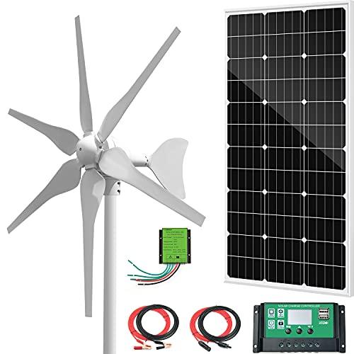 Ceduloon 500W Solar & Wind Power Hybrid Kits Off-Grid System for Charging 12V 24V Battery:400W Wind Turbine Generator,100W Monocrystalline Solar Panel,for RV Roofs Boats