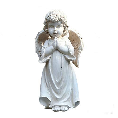 MYHZH Ange de Jardin Sculpture, Ornement de Fille d'ange Statue de Jardin Conte de fées Little Angel Garden Statue Résine,Blanc