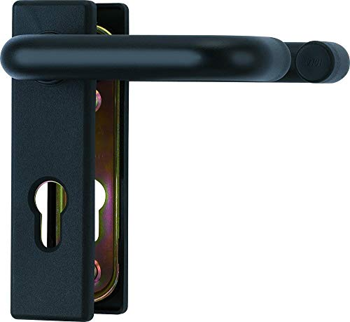Beschlag für Feuerschutztüren Farbe Tiefschwarz matt Hoppe ABUS BKS (Türdrücker-Garnitur eckig)