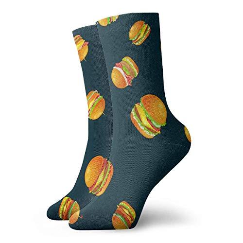 Neuheit Crew Sockenmuster Tasty Burger Gegrilltes Rindfleisch Bedruckte Sport Athletic Socken 30 cm lange personalisierte Röhrensocken Geschenksocken