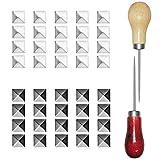 400 remaches cuadrados, Sonku de 10 mm con cuatro mandíbulas cuadradas con 2 punzones rectos utilizados para bolsa de cuero, zapatos, artesanía, puntos, puntos, tachuelas, negro, plateado