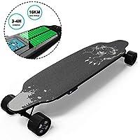 GeekMe Monopatín Eléctrico con Control Remoto, Skateboard de 4 Ruedas con Batería de Litio para Principiantes, Tabla de Truco Genial para Adultos y Adolescentes (Black1)