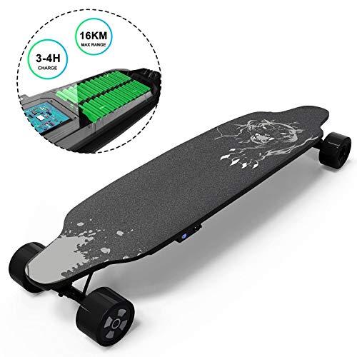 GeekMe Skateboard Elettrico Longboard con Telecomando, Skateboard a 4 Ruote con Batteria al Litio per Principianti, 35,4 * 9 Pollici coolboard per Adulti e Ragazzi (Black1)