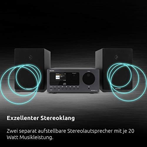 TechniSat DIGITRADIO 700 - Mikro-HiFi System (Internetradio, DAB+, UKW, CD-Player, Bluetooth-Audiostreaming, 40 Watt RMS Stereo-Boxen, Kopfhöreranschluss, Wecker, Sleeptimer, Fernbedienung) schwarz