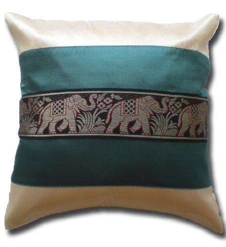 Elefanten Elefant cremeweiss - türkis Kissenbezug Kissenhülle Kissen 41,5 cm x 41,5 cm Thai Silk Sofa Couch