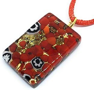 Lámpara de techo de cristal Murano - Millefiori a presión dorado 3 cm x 2 cm - en caja regalo (zorro a caballo)