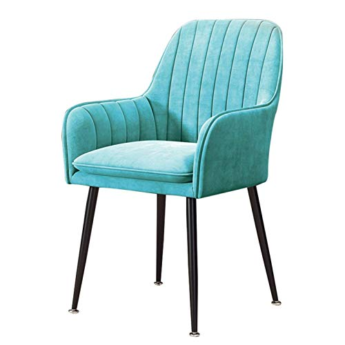 Dining Chair Comfortable Padded Seat Upholstered Armchair Sturdy Metal Legs Modern Office Lounge Dressing Dining Kitchen (Color : Blue)