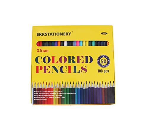 SKKSTATIONERY 100 Pcs Mini Colored Pencils, 3.5' Colored Pencils, 50 Vibrant Colors, Drawing Pencils for Sketch, Arts, Coloring Books