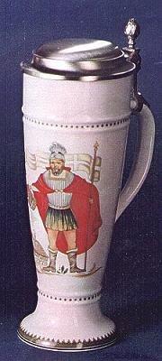 Zimmermann Bierseidel Bier-Krug St. Florian Weißbierkrug mit Zinndeckel und Henkel 0,5l
