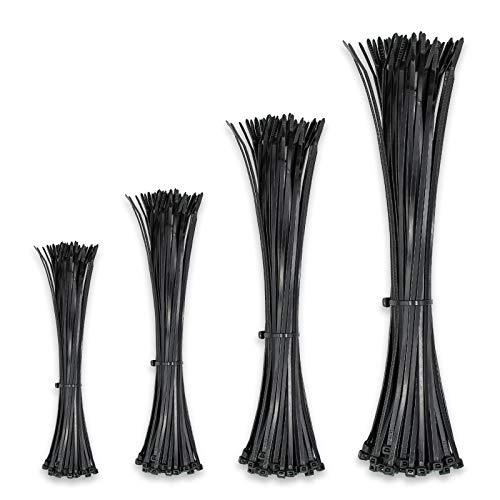 Fascette fermacavi in nylon nero di alta qualità, confezione da 400 pezzi, 3,6 mm,dimensioni 100 mm, 150 mm, 200 mm, 250 mm (ogni dimensione 100 pz)
