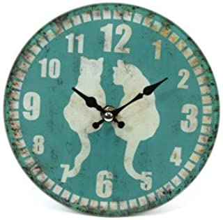 Pretty Glass Small Wall clock 2 cats with turquoise background vintage effect