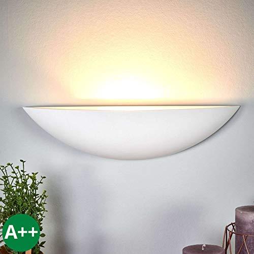 Lampenwelt Wandleuchte, Wandlampe Innen 'Guilia' dimmbar (Modern) in Weiß aus Gips/Ton u.a. für Flur & Treppenhaus (1 flammig, E27, A++) - Wandfluter, Wandstrahler, Wandbeleuchtung Schlafzimmer /