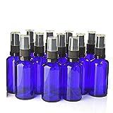 5 botellas de spray de cristal azul cobalto vacías rellenables negras con pulverizador de niebla fina de viaje, botella atomizadora recargable para aceite esstenial líquido perfume cosmético (100 ml)