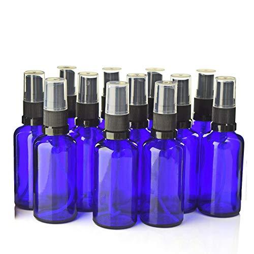 5 botellas de spray de cristal azul cobalto vacías rellenables negras con...