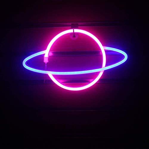 RBzhd Planet Neon Light LED Neon Wandleuchte Batterie- oder USB-betriebenes Neon-Lichtschild LED Neon-Lichter Wolkenlampe Licht für Zuhause, Kinderzimmer, Bar pink + blau
