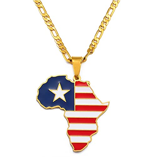 LIUZIXI Collar con Colgante De Mapa De África - Encanto De Moda Mapa del País De Liberia Africana Colgante De Bandera Nacional - para Mujeres Hombres Amistad De Hip Hop Joyería Étnica Regalo De