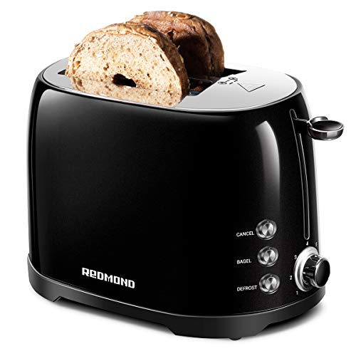 "REDMOND Toaster 2 Slice, Retro Bagel Toaster Stainless Steel Compact with 1.5""Extra Wide Slots and 7 Bread Shade Settings for Breakfast, 800W, ST032 (Onyx Black)"