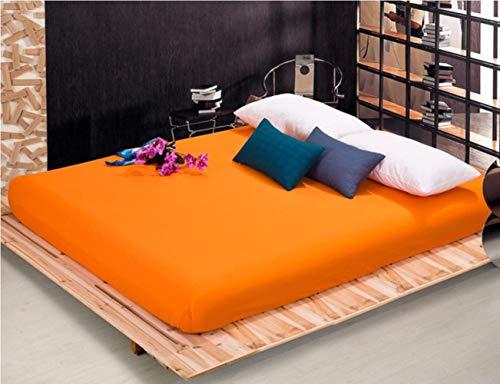 Boner Sábana Ajustable Sábana Ajustable con Banda elástica Ropa de Cama Simple Sábana Cubierta de colchón Sábana, Naranja, 80x200x25cm