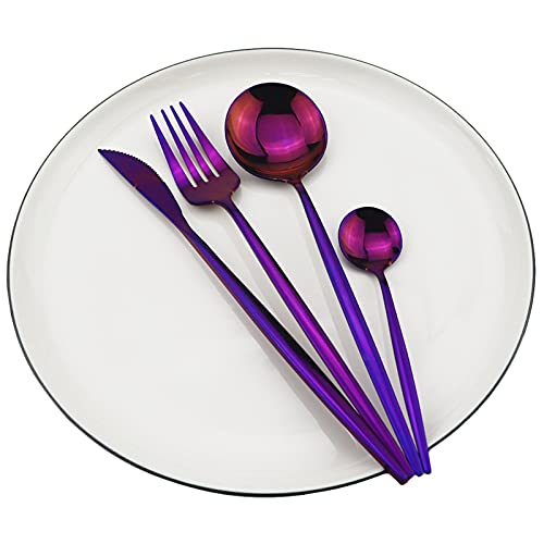 Juego de vajillas de color púrpura brillante Juego de vajillas occidentales 18/10 Bifurcación de acero inoxidable Cuchilla Cuchara de cuchilla Cutlery Set Home Party Silverware Set