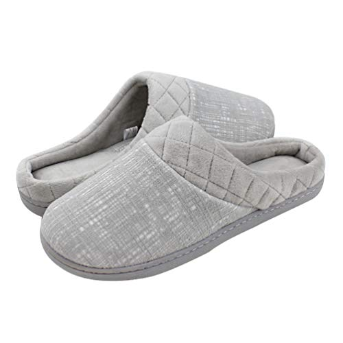 Magtoe Women's Memory Foam Slip On Home Arch Support Slippers Clog Non Skid Indoor & Outdoor(11-12,Grey)