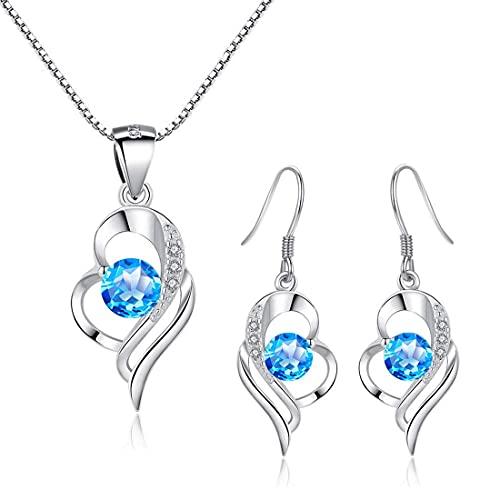 WHFY Tragus - Juego de joyas de plata de ley para mujer, Pendientes de corazón y collar de plata de ley 925 para mujer, Colgante de gota hipoalergénico E Exquisito