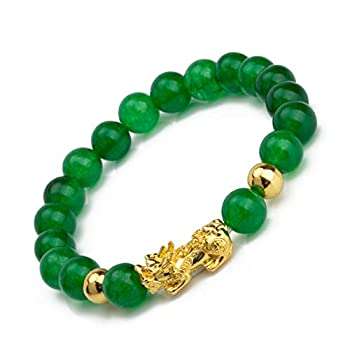Fengshui Porsperity Jade Bracelet Lucky Charm Feng Shui Black Obsidian Wealth Bracelet Gift For Men Women with Gold Plated Pi Xiu Pi Yao Attract Wealth Good Luck Green