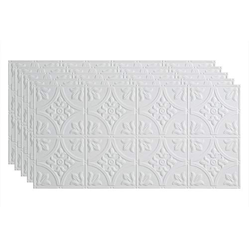 FASÄDE Traditional Style/Pattern 2 Decorative Vinyl 2ft x 4ft Glue Up Ceiling Panel in Matte White (5 Pack)