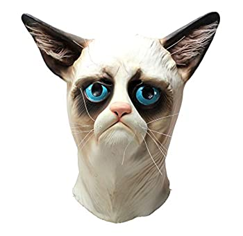 LEKA NEIL Halloween Mask Animal Mask Cat Mask Deluxe Novelty Halloween Costume Party Latex Mask Cat Head Mask  Blue