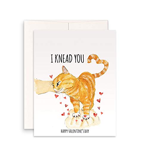 Funny Valentines Day Cards From The Cat - I knead You Orange Tabby Cats Love Card For Boyfriend - Cute Valentine Gifts For Him - By Liyana Studio Greeting Card