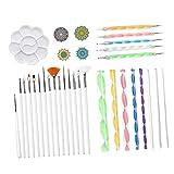 #N/A/a Kit de Herramientas de punteo de Mandala de 33 Piezas, Bandeja de Pinceles para Pintar Rocas, para Colorear, para Dibujar y Dibujar