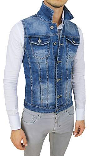 Evoga Chaleco vaquero para hombre azul vaquero cárdigan chaqueta casual azul (blu denim) L