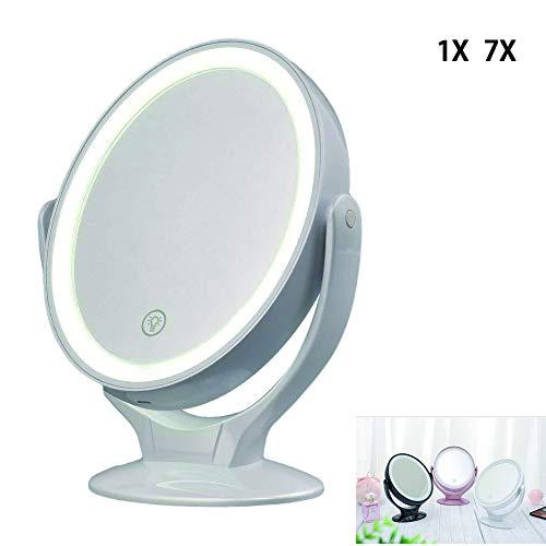 BEIAKE Miroir De Maquillage LED avec LumièRe De Remplissage Double Zoom 7X Tournant Pivotant Miroir De Table Coiffeuse pour Maquillage Beauté,Blanc