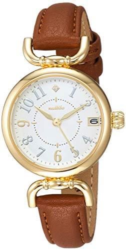 [フィールドワーク] 腕時計 アナログ アイバニー 日付 付き 革ベルト 白 文字盤 YM001-3 レディース ブラウン