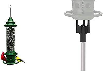 Squirrel Buster Plus Squirrel-Proof Bird Feeder w/Cardinal Ring and 6 Feeding Ports, 5.1-Pound Seed Capacity, Green & Squirrel Buster Pole Adaptor, Black, 1-inch External Diameter