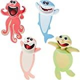 4 Pieces 3D Cartoon Animal Bookmark Funny Animals Reading Bookmark Wacky Bookmark Cute Bookmarks Squashed Ocean Animals Stationery for Teens, Boys and Girls Students