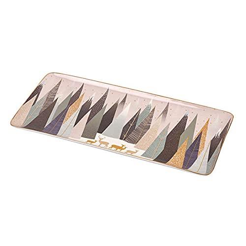 Portmeirion Sara Miller Plateau à sandwich en porcelaine Motif pin givré 35,6 cm