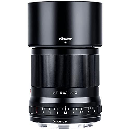 VILTROX AF 56mm f1.4 Autofokus Prime Objektiv APS-C Kameraobjektiv kompatibel mit Nikon Z Mount Kameras(Augen AF, einstellbare Blende f1.4-f16), Schwarz
