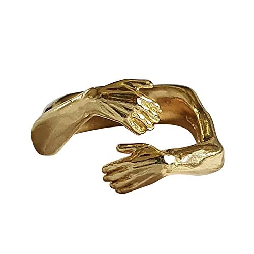 Give Me a Hug Warm Love Adjustable Open Ring for Women Girls, Love Hug Couple Ring Fashion Hug Ring Open Couple Ring Silver (Gold)