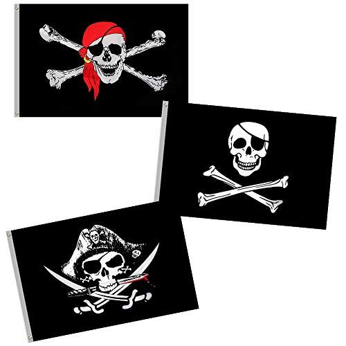 fanshiontide Piratenflagge, 3 PCS Schädel und Kreuzmesser Crossbones Jolly Roger (Roter Schal) Flagge für Outdoor- und Piratenpartys (2 'x 3')