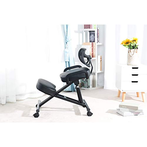 Kneeling Chair Ergonomic Ergonomic Office Chairs Orthopaedic Stool - High Adjustable, with Back Support with Pulley ZHJING (Color : Black)