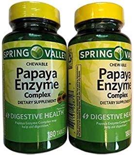 Spring Valley Chewable Papaya Enzyme Complex Tablets, 180 Count - (2 Pack)