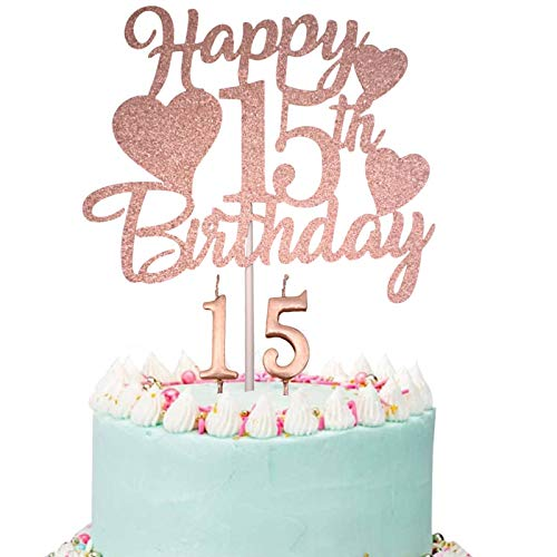 Happy 15th Birthday Cake Topper, Rose Gold 15th Birthday Cake Topper, 15th Birthday Cake Topper with Number 15 Candles for Girl 15th Birthday Party Decorations